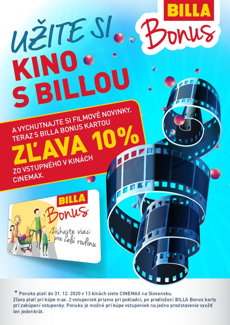 56bc863b0 Až do 31. decembra 2019 si môžete pri predložení BILLA BONUS CLUB karty  uplatniť zľavu 10 %* zo vstupného vo všetkých kinách CINEMAX.